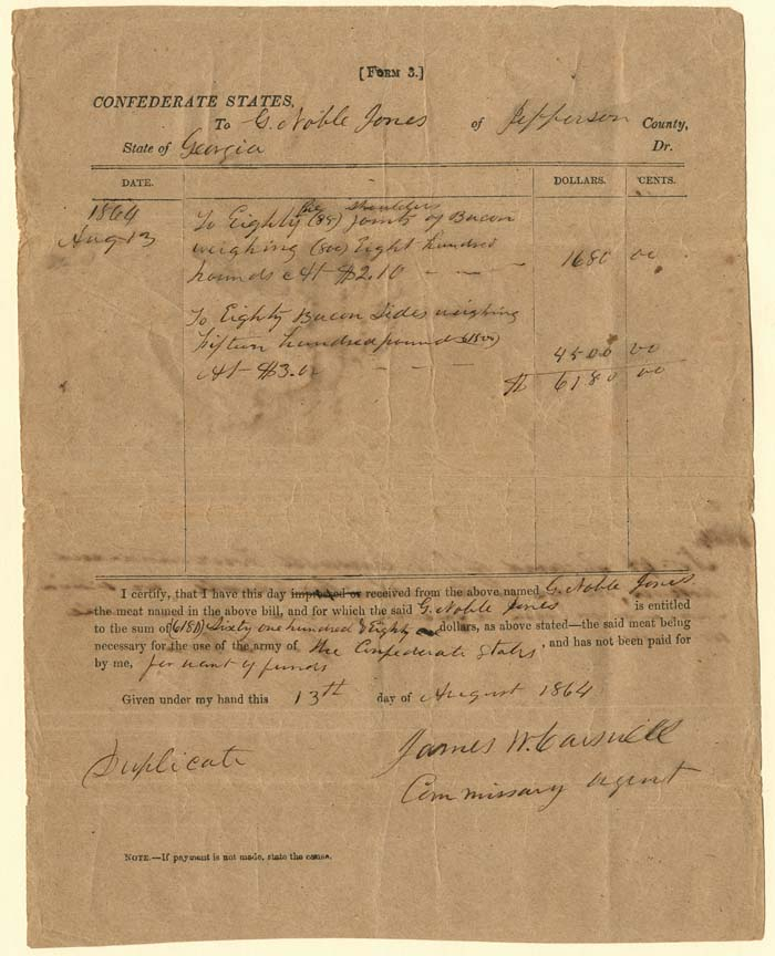 Receipt for Bacon for the army of the Confederate States - SOLD