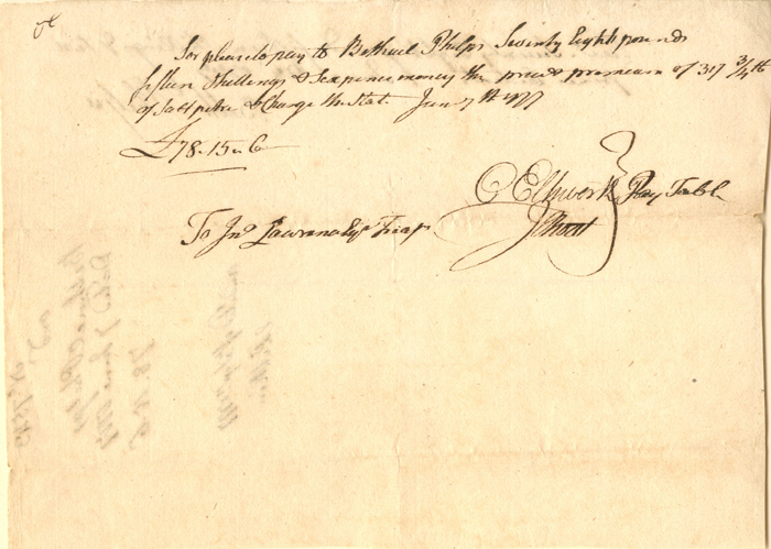 Connecticut Fiscal Paper signed by O. Ellsworth and J. Root