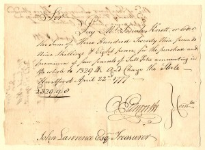 Oliver Ellsworth - Revolutionary War Pay Order