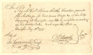 Oliver Ellsworth - Revolutionary War Pay Order - SOLD