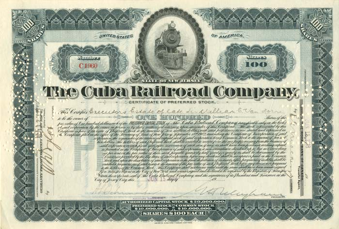 Cuba Railroad Company - Issued to Estate of Sir William C. Van Horne - Stock Certificate - SOLD