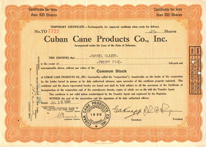 Cuban Cane Products Co., Inc. - SOLD
