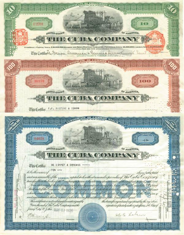 Cuba Company Set of 3 Stocks
