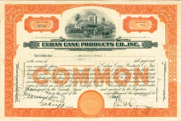 Cuban Cane Products Company - Stock Certificate