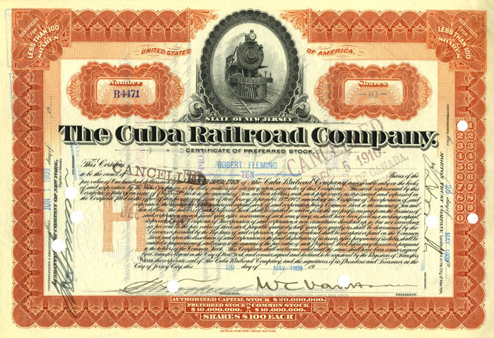 William Cornelius Van Horne signed Cuba Railroad Co Stock