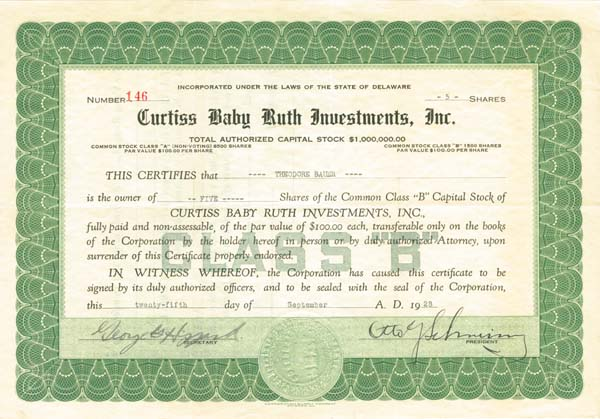 Curtiss Baby Ruth Investments, Inc. - SOLD