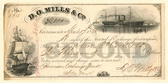 D.O. Mills & Co. Check signed by D.O. Mills - SOLD