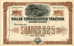 Dallas Consolidated Traction Railway Company - SOLD