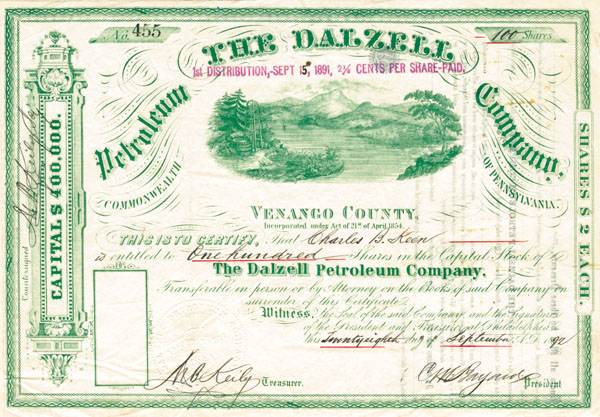 Dalzell Petroleum Company - Stock Certificate - SOLD