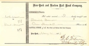 New York and Harlem Rail Road Company Issued to Daniel Drew - SOLD