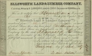 Daniel Webster signed Ellsworth Land & Lumber Company