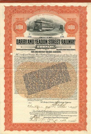 Darby and Yeadon Street Railway - SOLD