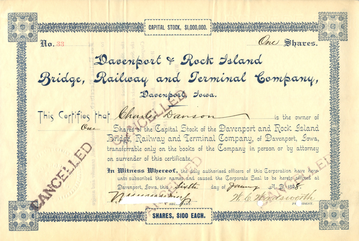 Davenport & Rock Island Bridge Railway and Terminal Company - SOLD