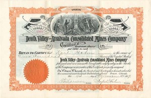 Death Valley-Arcalvada Consolidated Mines Company - Stock Certificate