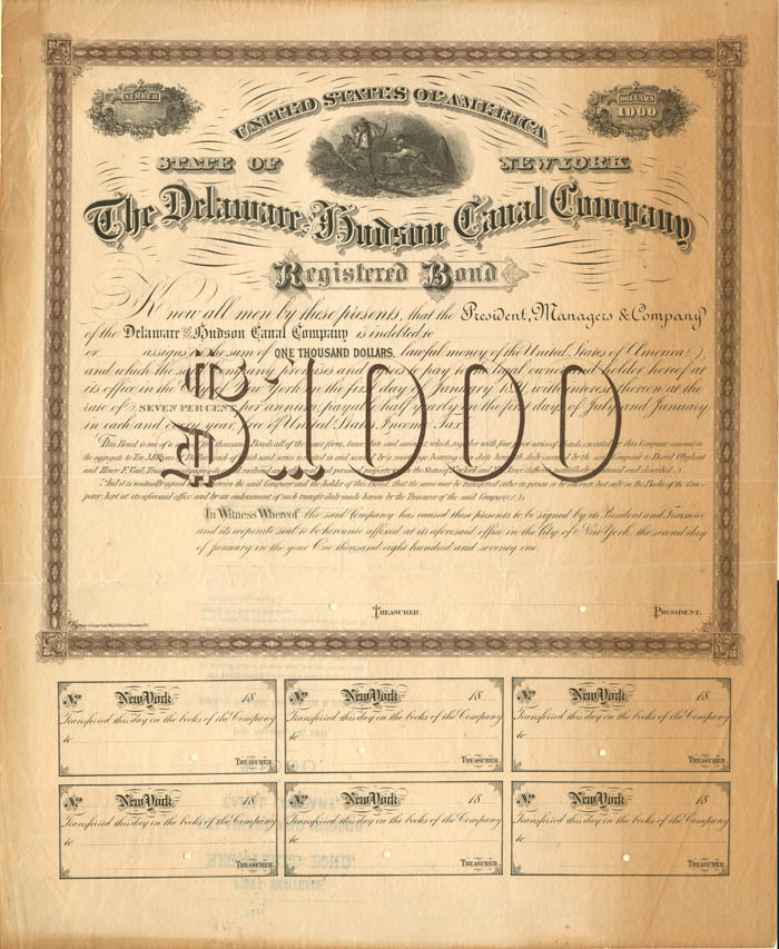 Delaware and Hudson Canal Company - $1,000 Bond