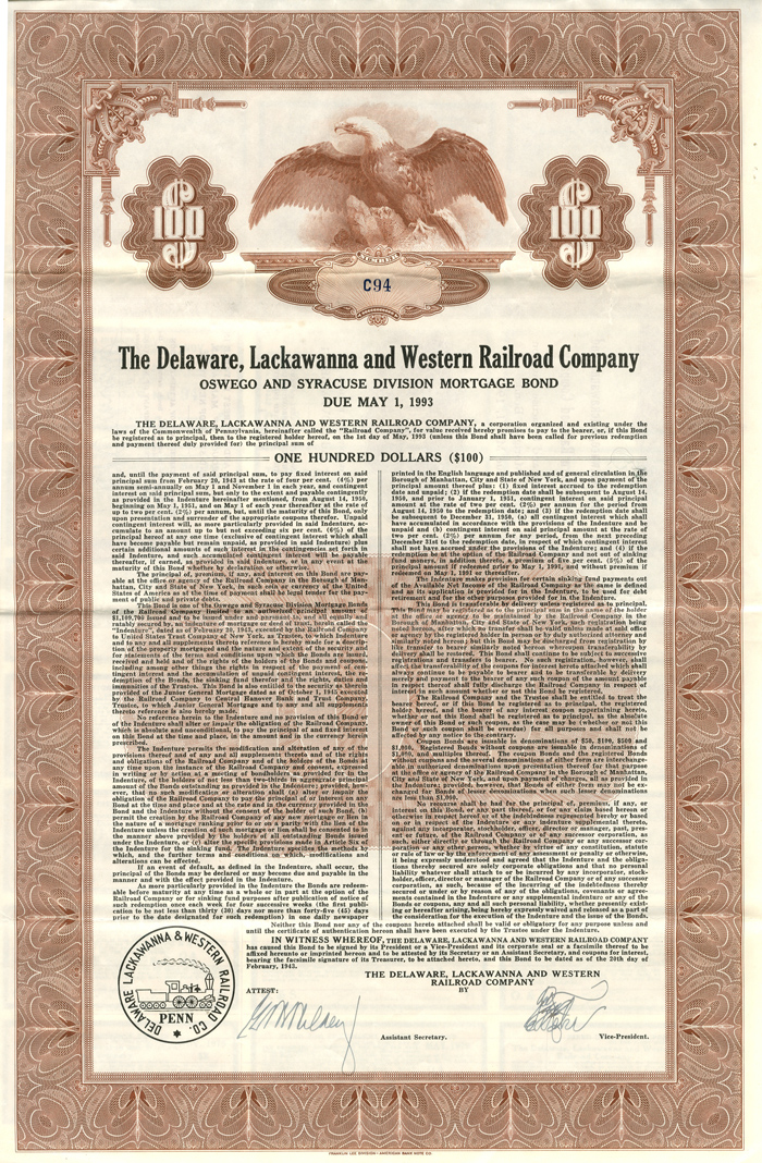 Delaware, Lackawanna and Western Railroad Company $100 Bond