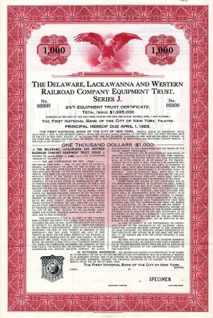 Delaware, Lackawanna and Western Railroad Company Equipment Trust, Series J