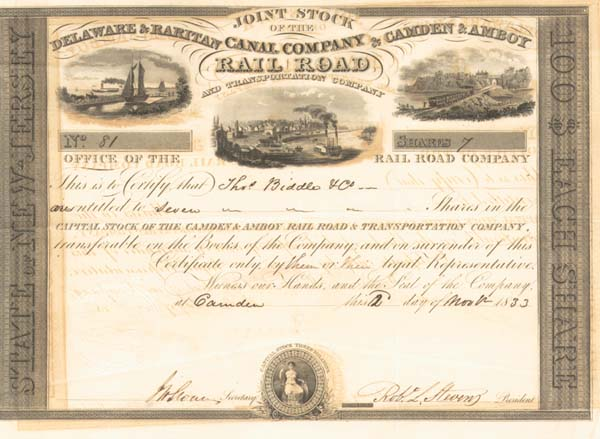 Delaware & Raritan & Camden & Amboy Canal Railroad & Transportation Co signed by Robert L. Stevens - Stock Certificate
