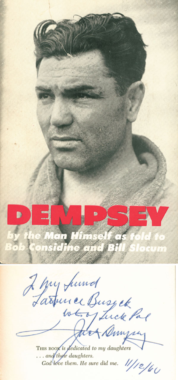 Jack Dempsey Autographed Book