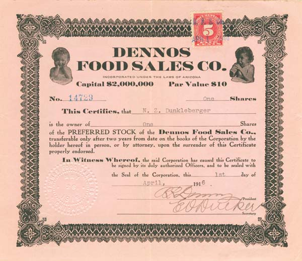 Dennos Food Sales Co. - Stock Certificate