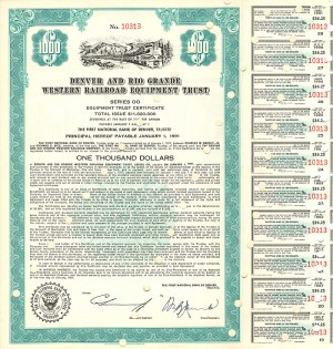 Denver and Rio Grande Western Railroad Equipment Trust - SOLD