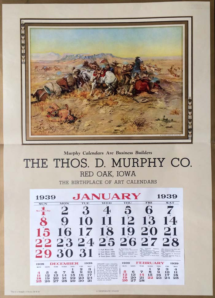 """A Desperate Stand"" by C.M. Russell Advertising Calendar"