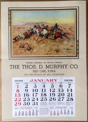 """A Desperate Stand"" by C.M. Russell Advertising Calendar - SOLD"