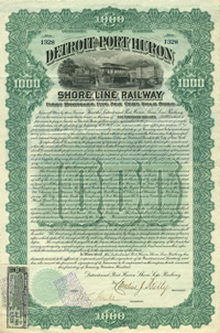 Detroit and Port Huron Shore Line Railway - $1,000