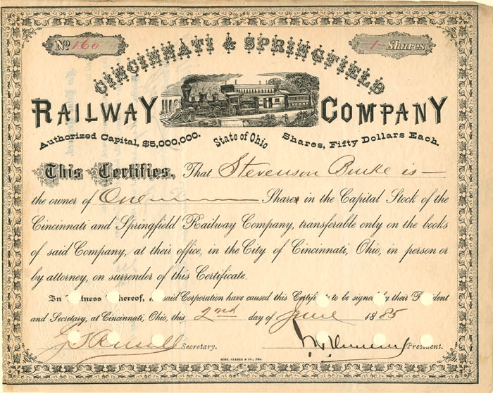 Cincinnati & Springfield Railway Company signed by John Henry Devereux - Stock Certificate