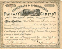 Cincinnati & Springfield Railway Company signed by John Henry Devereux