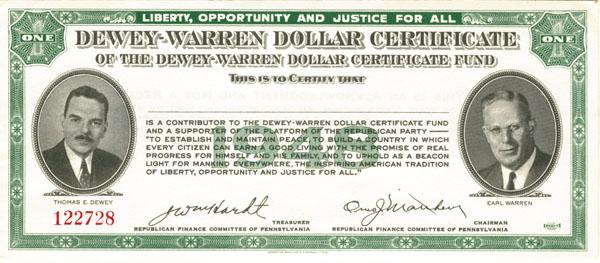 Dewey-Warren Dollar Certificate