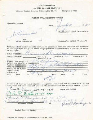 Diamonds & Dick Clark Signed Contract - SOLD