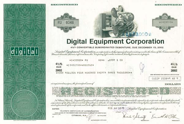 Digital Equipment Corporation - $1,000,000 Bond