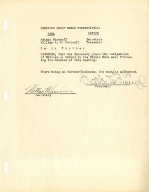 Walt Disney signed document - SOLD