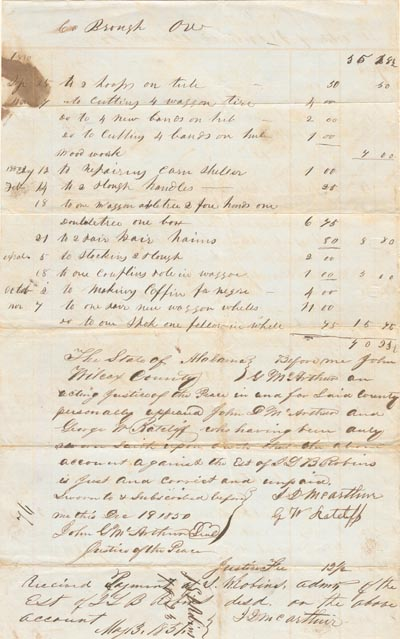 Alabama Slave Document - SOLD