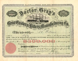 Doctor Gray's Great Eastern Bitters Manufacturing Co.