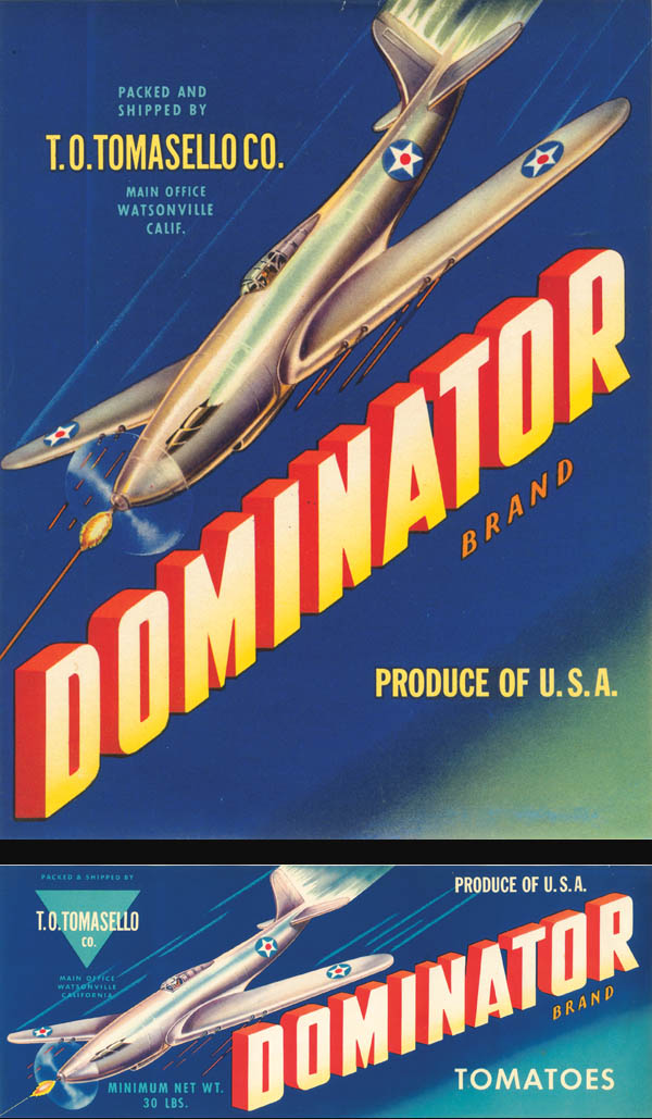 Set of Dominator Brand Fruit Crate Labels