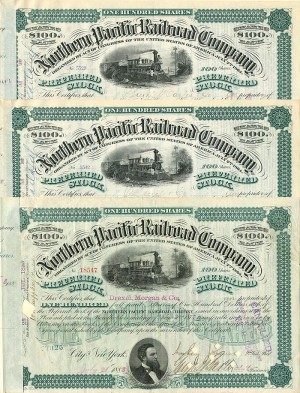 Northern Pacific Set of 3 Signed by J.P. Morgan