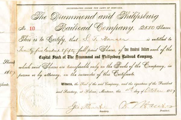 Drummond & Philipsburg Railroad Company - Stock Certificate