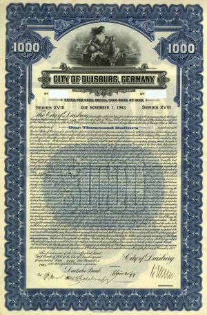 City of Duisburg, Germany 7% Uncancelled $1000 Bond of 1925