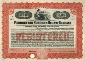 Piedmont and Northern Railway Company $50,000 Gold Bond signed by James Buchanan Duke