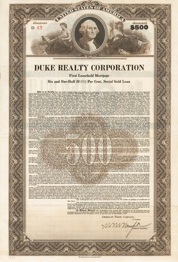 Duke Realty Corporation - Bond - SOLD