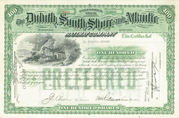 Duluth, South Shore and Atlantic Railway Company - SOLD