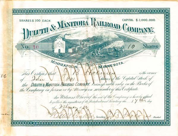 Duluth & Manitoba Railroad Company - Stock Certificate