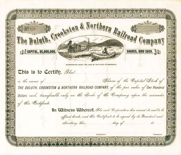 Duluth, Crookston & Northern Railroad - Stock Certificate