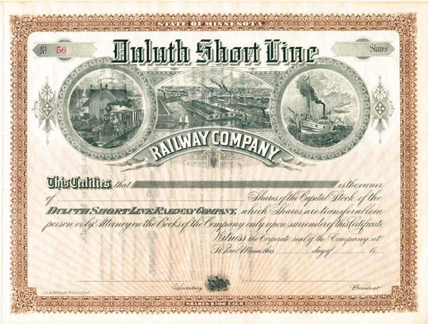 Duluth Short Line Railway Company - Stock Certificate