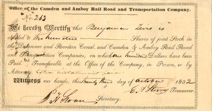 Camden and Amboy Railroad and Transportation Company signed by E.A. Stevens