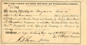 Camden and Amboy Railroad and Transportation Company signed by E.A. Stevens - Stock Certificate