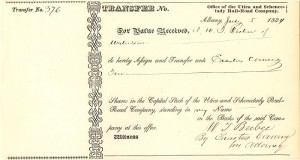 Utica and Schenectady Rail-Road Company signed by Erastus Corning