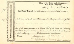 Utica and Schenectady Rail Road Company signed by Erastus Corning